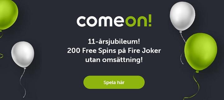 200 free spins hos ComeOn